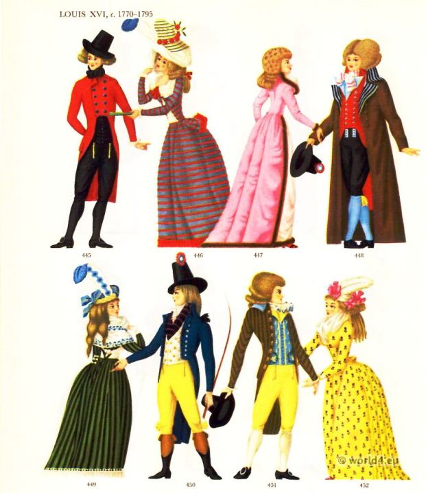 Louis XVI Costumes 1770-1795. French Rococo dresses. Court dress. Werther costume