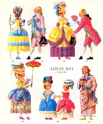 Louis XVI Fashion 1778. French Rococo Costumes à la Polonaise. Court dress.