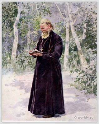 St. John of Cronstadt. Traditional Russian costumes. Russia folk dress. Ethnic clothing.