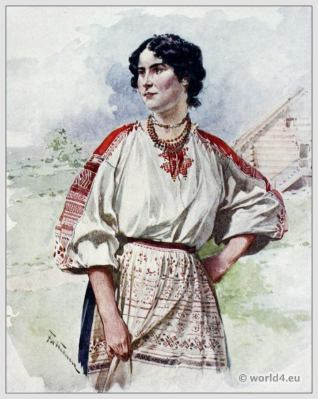 Traditional Russian costumes. Russia folk dress. Ethnic clothing. A Russian Servant in Summer Dress.