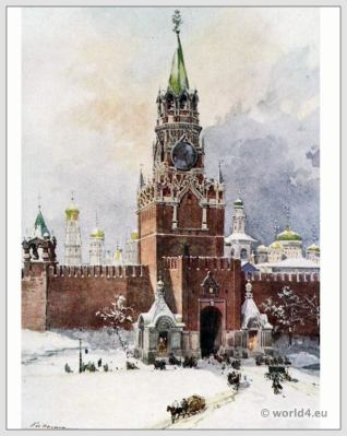 Traditional Russian costumes. Russia folk dress. Ethnic clothing. The Saviour Tower