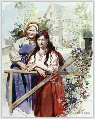 Traditional Russian costumes. Russia folk dress. Ethnic clothing. The Postman