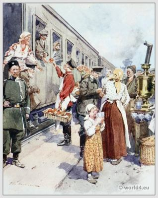 Traditional Russian costumes. Russia Tea Sellers folk dress. Ethnic clothing.