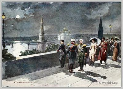 Kremlin Moscow. 19th century, Historical costumes, Illustration.