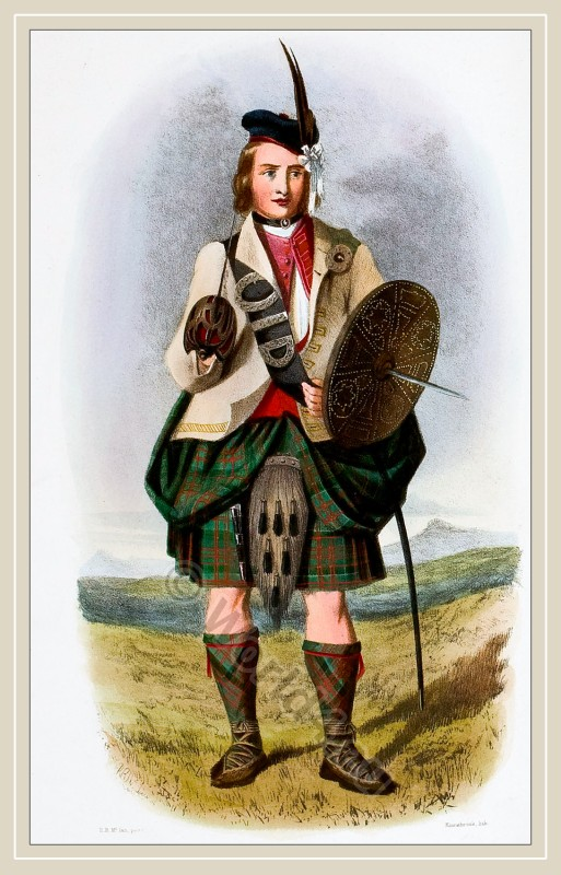Traditional Scottish National Costume. Clan Raonuil, Clan Mac Donalds, Clan Ranald.