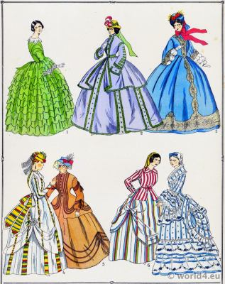 Second Empire dresses. Victorian Fashion History. 19th century fashion. Crinoline costumes.