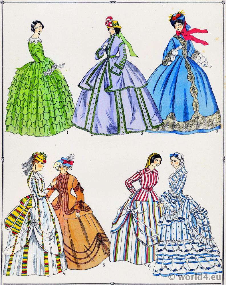 46dfe2e4ee27 Les modes du second empire 1852 a 1870. | Costume & Fashion History