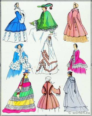 Second Empire Coats. Victorian Fashion History. 19th century fashion. Crinoline. Second Rococo costumes.