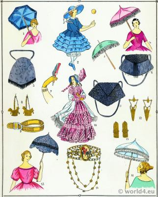 Second Empire Adornments. Victorian Fashion History. 19th century fashion. Second Rococo costumes.