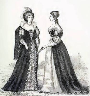 Louis XIII. Costumes. 17th century fashion. Baroque Clothing. Farthingale Court dress.