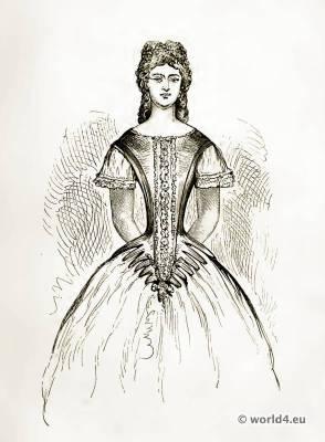Victorian Crinoline Costume. Corset and stomacher. Farthingale.