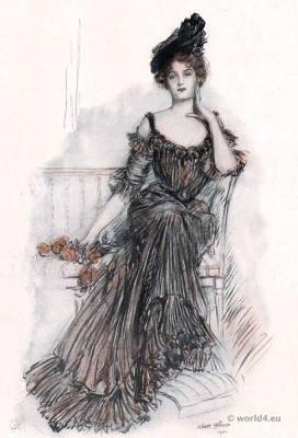 American Beauties by Albert Sterner.  American Belle Époque Fashion. Art Nouveau Costume.