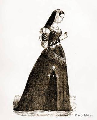 Corset Crinoline fashion. 15th century costumes. French Medieval costume. Court dress