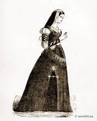 Corset Crinoline fashion. 15th century fashion. Medieval costume. Court dress