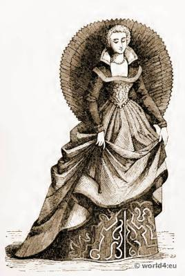 16th century costume. Renaissance fashion. Venetian Lady of Fashion. Corset Crinoline underwear.