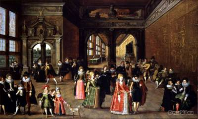 French Baroque Costumes. 17th century fashion. Ball at the Court of Henri IV.