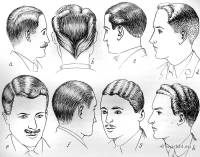 English men's hair fashion in 1930s. England men haircut.