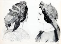 Victorian Fashion. Edwardian modes. French Bonnet, Caps. La Mode illustrée: journal de la famille.
