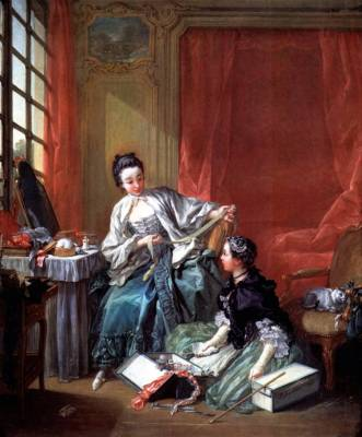 18th century clothing, The Milliner, François Boucher. Rococo Fashion,