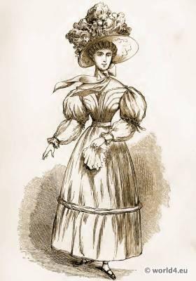 Lady of Fashion, 1830. Empire costume. Regency fashion. The corset and the crinoline.