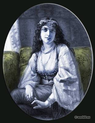 The Syren. Gypsy girl costume. Arabian clothing. Traditional Jewish dress. Charles Louis Muller