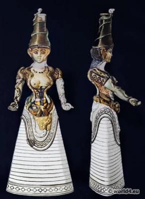 Snake Goddess. Ancient Minoan Matriarchy Female Costume. Antique Greek statue
