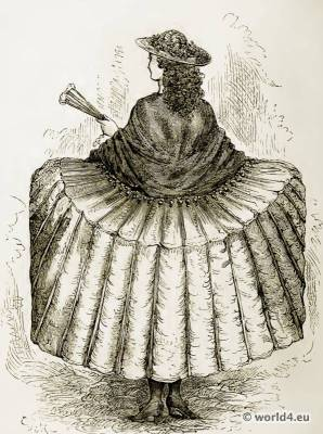 French Rococo Farthingale, Crinoline. Louis XV fashion. French 17th century clothing