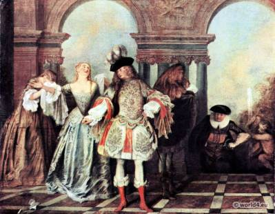 French comedians. Antoine Watteau. French 18th century Rococo fashion. Farthingale crinoline.