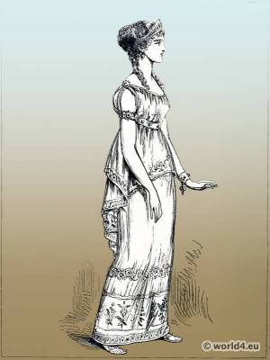 Ancient Greece costume. Greek peplus, tunic. The Corset and the Crinoline.