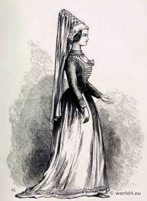 Medieval costume. Burgundy Nobel costumes. Hennin. The corset and the crinoline