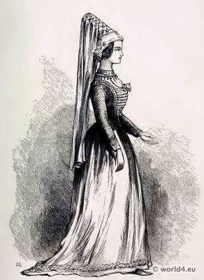 Medieval costume. Burgundy Nobel costumes. Hennin. The corset and the crinoline