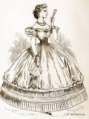 Lady of Fashion, 1837. Victorian Costume. The corset and the crinoline.