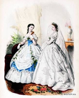 Victorian Prom Dress. Victorian Wedding Dress. La Mode Illustrée. 19th century crinoline costumes