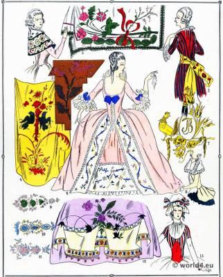 Etoffes. La mode Louis XVI. Costumes de rococo. 18 vêtements de siècle.