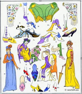 Chaussures. La mode Louis XVI. Costumes de rococo. 18 vêtements de siècle.