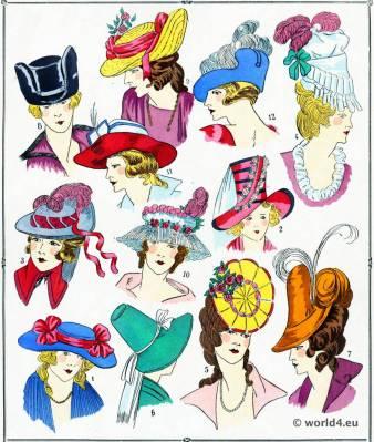 Rococo Hats. Louis XVI. Marie Antoinette fashion.