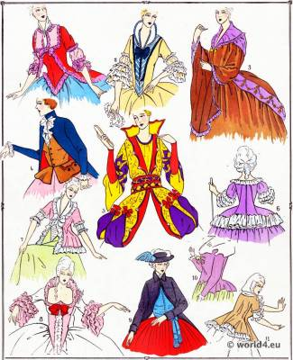 Corsages.La mode Louis XVI. Costumes de rococo. 18 vêtements de siècle.