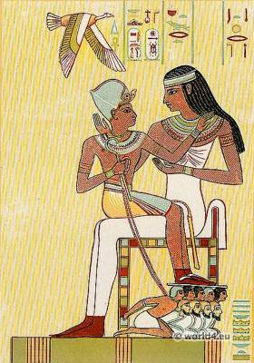 Ancient Egypt Pharaoh costume. Amenhotep on the lap of a goddess.