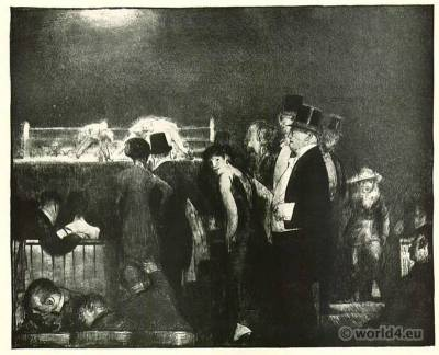 Preliminaries to the Big Bout. Boxing costumes. George Bellows. American Artist