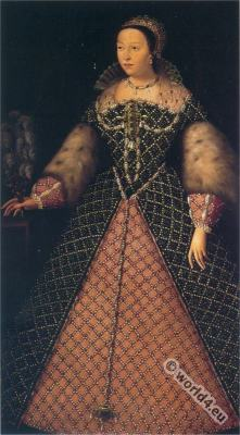 Queen of France Catherine de' Medici. Renaissance Costumes. 16th century