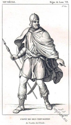 """Costume des Chevalier de l'Ordre de L""""Etoile. .12th century costume. Middle ages knight"""