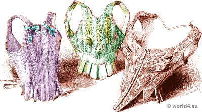 Corset bodice fashion. 18th century bodice and underwear. Louis-XIV, Louis XV costumes.