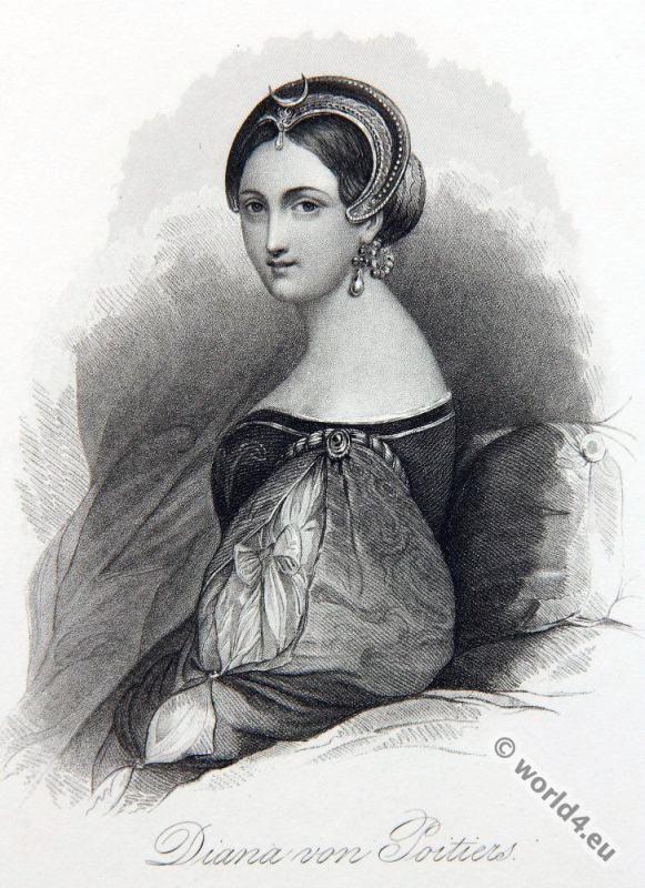 Diane, Poitiers, noblewoman, costume, Renaissance