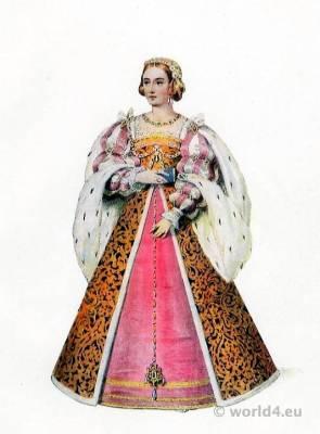 French Queen Eleanor of Austria also called Eleanor of Castile. Renaissance Costume, Adornment, Jewellery