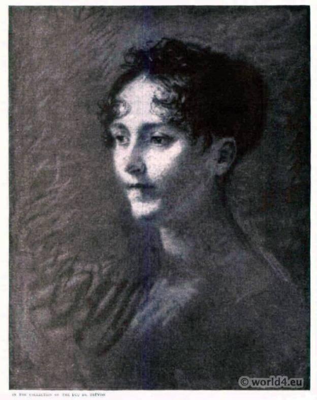 French Empire style costumes. Joséphine de Beauharnais. Pierre Prud'hon. Neo-classicism, Romanticism