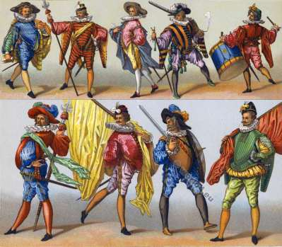 Renaissance Fashion. French military. 16th century. Auguste Racinet.
