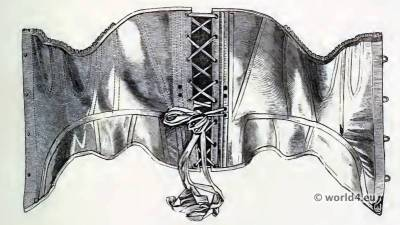 Corset and Crinoline. Common Cheap Stay, Open. Nineteenth-century Costume and Fashion