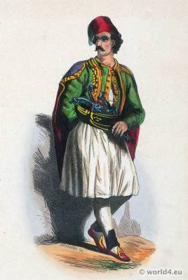 Men from Greece in Fustanella. Traditional Greek national costume. Greece Folk clothing. Ethnic dress.