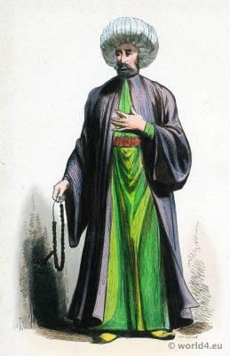 Imam costume of Turkey, Ottoman Empire garment. Muslim Ecclesiastical clothing. Kaftan Turban.
