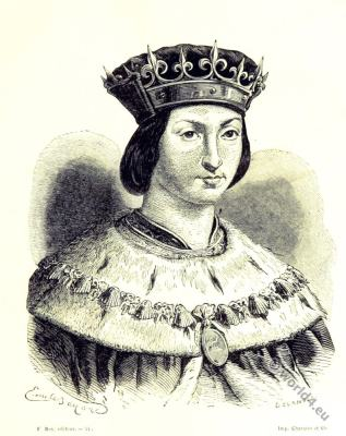 Louis XII. King of France. 15th century fashion. Middle ages fashion.